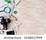 top view travel concept with... | Shutterstock . vector #1038012949