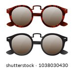 vector set of retro sunglasses | Shutterstock .eps vector #1038030430