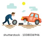the man replaces the tire on... | Shutterstock .eps vector #1038036946