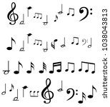 music note background with... | Shutterstock .eps vector #1038043813