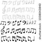 music note background with...   Shutterstock .eps vector #1038043840