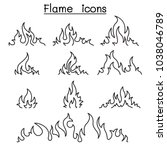 fire   flames icon set in thin... | Shutterstock .eps vector #1038046789