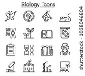 biology icon set in thin line... | Shutterstock .eps vector #1038046804