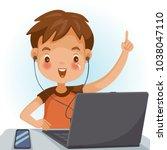 little boy using the notebook... | Shutterstock .eps vector #1038047110