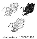 hand drawn japanese dragon head ... | Shutterstock .eps vector #1038051430