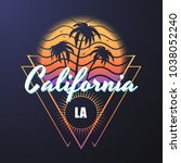 california reto style... | Shutterstock .eps vector #1038052240