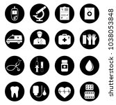 vector medical icons on black...   Shutterstock .eps vector #1038053848