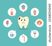 dental sad cartoon tooth with... | Shutterstock .eps vector #1038054040
