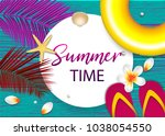 summer time tropical sale... | Shutterstock .eps vector #1038054550