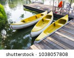 canoe for rowing in lumpini... | Shutterstock . vector #1038057808