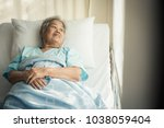 lonely asian elderly female... | Shutterstock . vector #1038059404