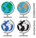 world map with globe | Shutterstock .eps vector #1038063490