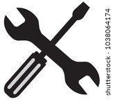 tool icon with spanner and... | Shutterstock .eps vector #1038064174