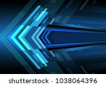 abstract blue arrow light zoom... | Shutterstock .eps vector #1038064396