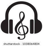 headphone with music symbol | Shutterstock .eps vector #1038064804