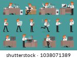 set. businessman working with... | Shutterstock .eps vector #1038071389