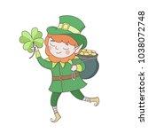 cute young leprechaun in green... | Shutterstock .eps vector #1038072748