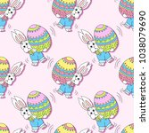 seamless pattern with easter... | Shutterstock .eps vector #1038079690