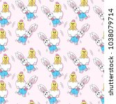 seamless pattern with easter... | Shutterstock .eps vector #1038079714
