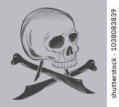skull bone knife | Shutterstock .eps vector #1038083839