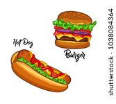 hotdog and burger illustration... | Shutterstock .eps vector #1038084364