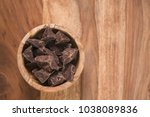 top view dark chocolate chunks... | Shutterstock . vector #1038089836