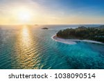 aerial view of tropical island... | Shutterstock . vector #1038090514