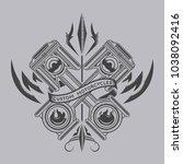 custom motorcycles vector | Shutterstock .eps vector #1038092416