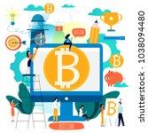 bitcoin  blockchain technology  ... | Shutterstock .eps vector #1038094480