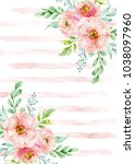 watercolor composition with... | Shutterstock . vector #1038097960
