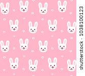 cute cartoon rabbit pattern.... | Shutterstock . vector #1038100123