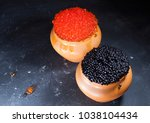 red and black caviar in rustic... | Shutterstock . vector #1038104434