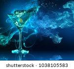 martini cocktail splashing in... | Shutterstock . vector #1038105583