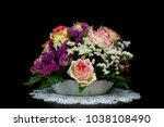 yellow pink roses in vase on... | Shutterstock . vector #1038108490