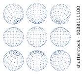 set of 3d spheres globe earth...   Shutterstock .eps vector #1038111100