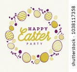 happy easter party with fashion ... | Shutterstock .eps vector #1038117358