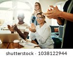 positive group of diverse...   Shutterstock . vector #1038122944