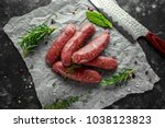 freshly made raw breed butchers ... | Shutterstock . vector #1038123823