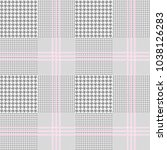 glen plaid pattern in grey and... | Shutterstock . vector #1038126283