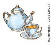 vintage porcelain teapot and... | Shutterstock .eps vector #1038129274