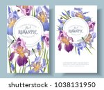 Stock vector vector vintage botanical banners with iris flowers and dragonfly on white floral design for 1038131950