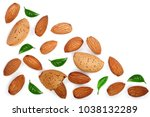almonds with leaves isolated on ... | Shutterstock . vector #1038132289