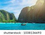 landscape of maya beach with... | Shutterstock . vector #1038136693