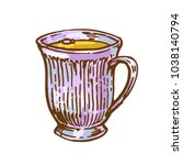 cup with drink tea  coffee ink... | Shutterstock .eps vector #1038140794