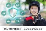 bike helmet   asian women... | Shutterstock . vector #1038143188
