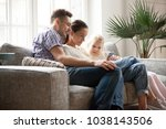 young family with daughter... | Shutterstock . vector #1038143506