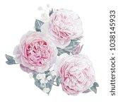watercolor pink roses...   Shutterstock . vector #1038145933