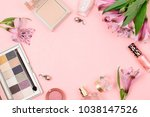 cosmetics and accessories on a ... | Shutterstock . vector #1038147526