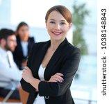 confident modern business woman | Shutterstock . vector #1038148843