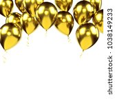 yellow metallic baloons on the... | Shutterstock . vector #1038149233